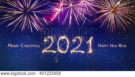 Merry Christmas And Happy New Year 2021. Beautiful Holiday Greeting Card Or Web Banner With Golden S
