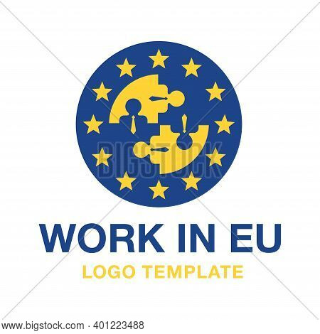 Work In Eu Logo Template - Staff Recruitment For Guest Working In European Union - Euaro Flag And Pe