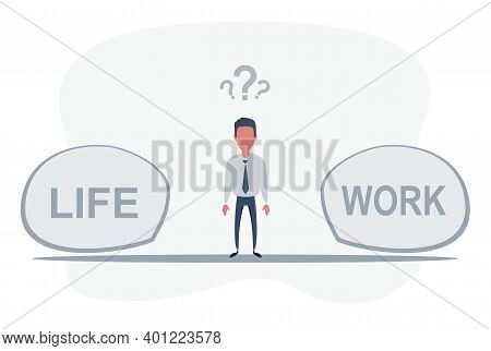Man Standing In The Middle Between Life And Work. Work And Life Balance Concept. Vector Flat Design