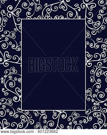 Openwork Card, Invitation In Doodle Style White Openwork On A Dark Blue Background. Square Vertical