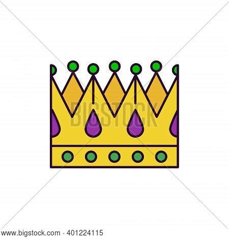 Web icon of paper king crown with gems in traditional purple-green-yellow palette. Symbol of of theater, masquerade party, Mardi Gras or Fat Tuesday - vector pictogram