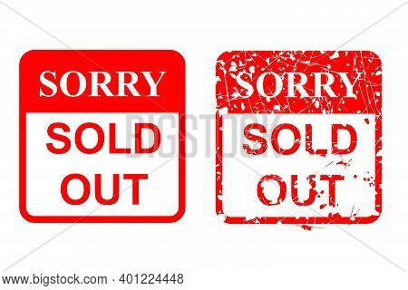 Red Rusty Vector Rubber Stamp, Sorry Sold Out, Isolated On White.