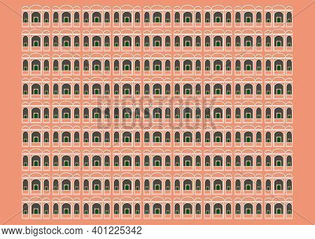 A Pink Pattern Inspired By Hawa Mahal Palace In Jaipur India