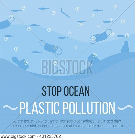Banner Of Covid Waste Litter In The Ocean Background. Face Masks, Latex Gloves, Medical Garbage Afte