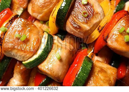 Delicious Chicken Shish Kebabs With Vegetables On Plate, Top View
