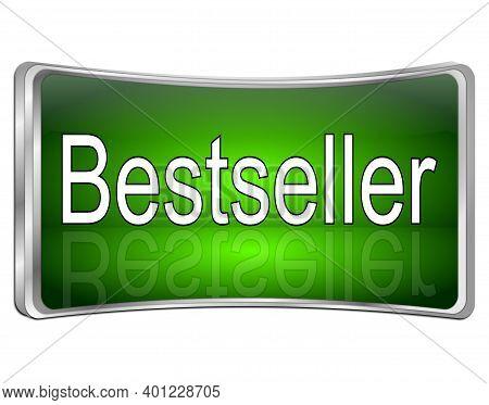 Glossy Green Bestseller Button - 3d Illustration