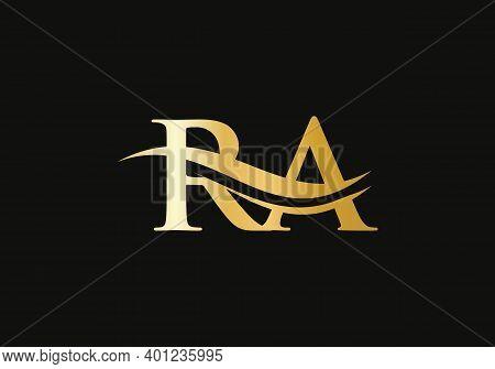 Initial Gold Letter Ra Logo Design. Ra Logo Design With Modern Trendy