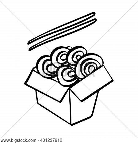 Hand Drawn Udon With Chopstiks Icon. Vector Illustration.