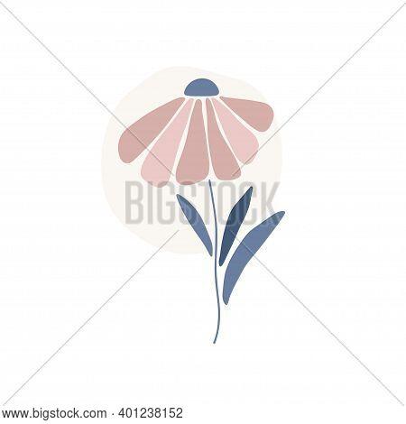 Daisy Flower Silhouette. Marguerite Flat Vector Illustration Isolated White Background. Scandinavian