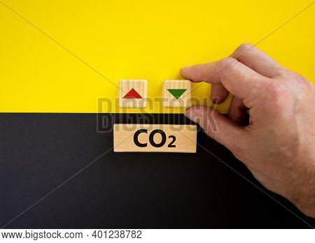 Co2 Changes Symbol. Concept Words 'co2' On Cubes And Blocks On A Beautiful Yellow And Black Backgrou
