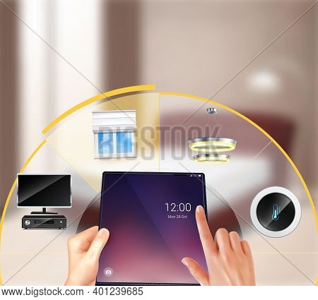 Smart Home Devices Touchscreen Setting Realistic Composition With Window Blinds Rising Doorbell Cont