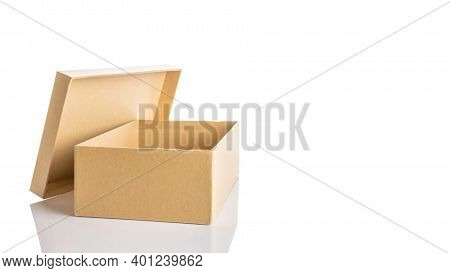 Carton Box Design. Brown Cardboard Package For Shipping Delivery Isolated On White Background. Carto