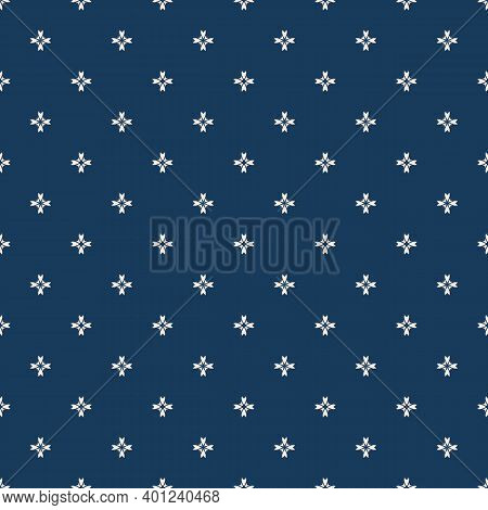 Vector Floral Texture. Geometric Seamless Pattern With Small Flower Silhouettes, Crosses. Simple Abs