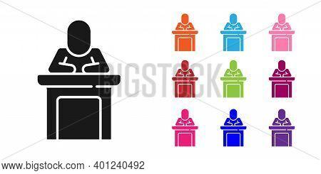 Black Speaker Icon Isolated On White Background. Orator Speaking From Tribune. Public Speech. Person