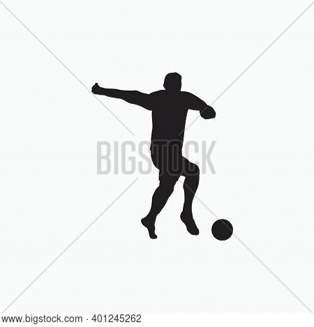 Dribble With Pace In Soccer - Silhouette Flat Illustration - Shot, Dribble, Celebration And Move In