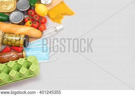 Flat Lay Composition With Food And Medicines Donations On Grey Background With Copyspace - Pasta, Fr