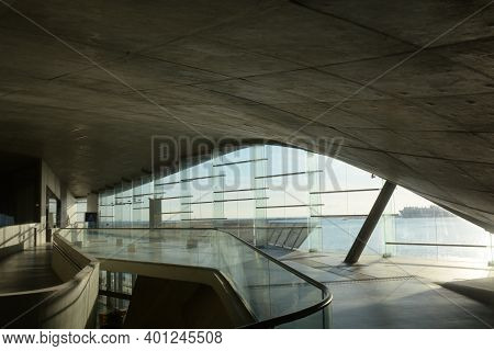 Interior View Of New Salerno Maritime Station, Italy. Terminal By Zaha Hadid Architects. December 21