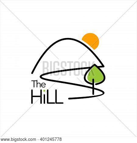 Hill Logo Simple Green Creek Pine Tree Leaf Nature Vector Design Template Idea