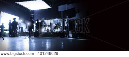 Silhouette Images Of Video Production Behind The Scenes Or B-roll Or Making Of Tv Commercial Movies