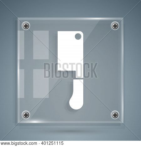 White Meat Chopper Icon Isolated On Grey Background. Butcher Knife. Kitchen Knife For Meat. Butcher