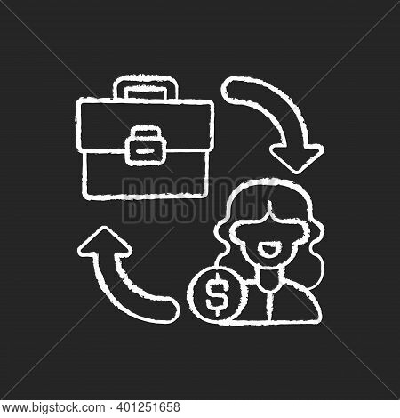 B2c Marketing Chalk White Icon On Black Background. Selling Different Products Directly To Customers