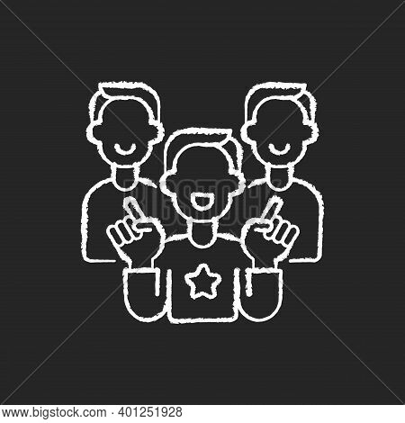 Evangelism Marketing Chalk White Icon On Black Background. Advanced Form Of Marketing In Which Compa