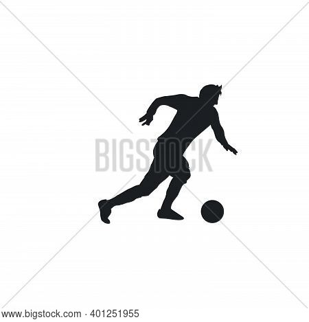 Right Footed Fast Dribbling - Silhouette Illustration - Shot, Dribble, Celebration And Move In Socce