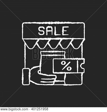 Transactional Marketing Chalk White Icon On Black Background. Business Strategy That Focuses On Sing