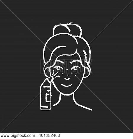Blackhead Remover Chalk White Icon On Black Background. Pore Retexturizing. Treating Blackheads And