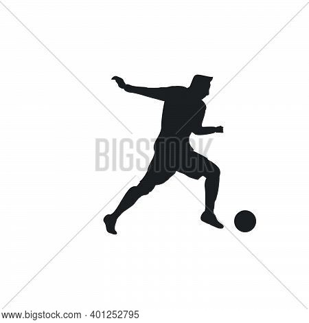 Right Footed Fast Escape Dribbling - Silhouette Illustration - Shot, Dribble, Celebration And Move I