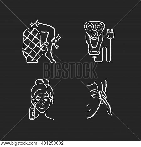 Beauty Appliances Chalk White Icons Set On Black Background. Body Scrubber. Electric Shaver. Blackhe