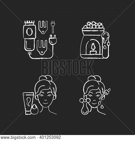 Beauty Care Appliances Chalk White Icons Set On Black Background. Electric Hair Clippers. Wax Warmer