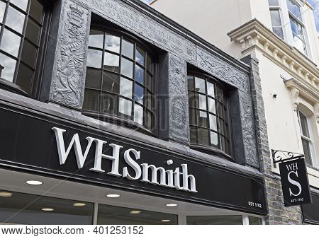 Weston-super-mare, Uk - July 5, 2019: W H Smith's Newly-refurbished Shop. The Company's Standard Sig