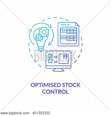 Optimised Stock Control Concept Icon. Warehouse Management Software Benefits. Management Advices For