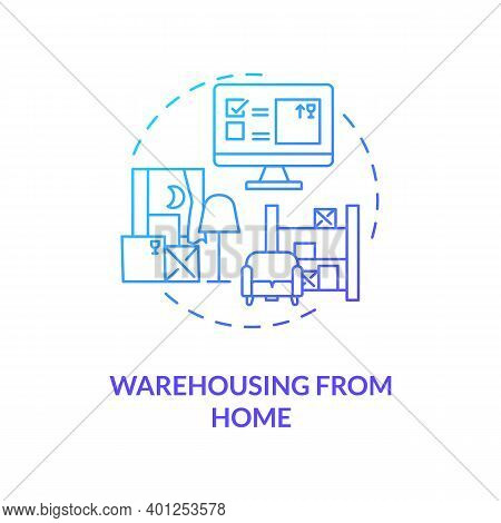 Warehousing From Home Concept Icon. Ecommerce Warehouse Solutions. Managing Products In Own Home Hou