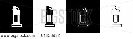 Set Pepper Spray Icon Isolated On Black And White Background. Oc Gas. Capsicum Self Defense Aerosol.