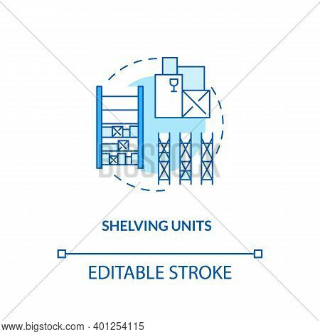 Shelving Units Concept Icon. Key Warehouse Equipment. Flexible Tracking Technologies Which Can Be Mo