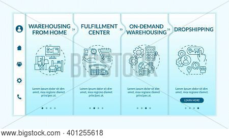 Warehousing From Home Onboarding Vector Template. Fulfillment Center. On Demand Warehousing. Respons