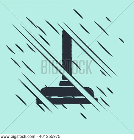 Black Rubber Plunger With Wooden Handle For Pipe Cleaning Icon Isolated On Green Background. Toilet