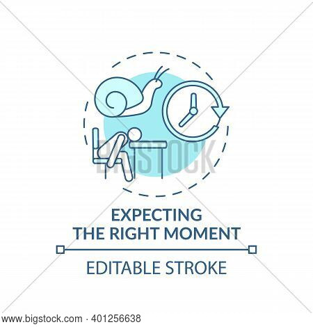 Right Moment Expecting Concept Icon. Procrastination Reason Idea Thin Line Illustration. Delaying An