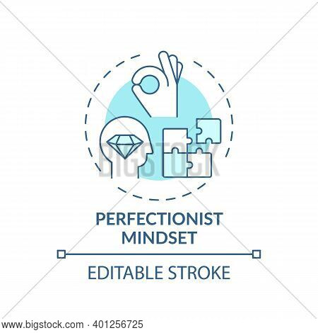 Perfectionist Mindset Concept Icon. Procrastination Reason Idea Thin Line Illustration. Struggle Wit