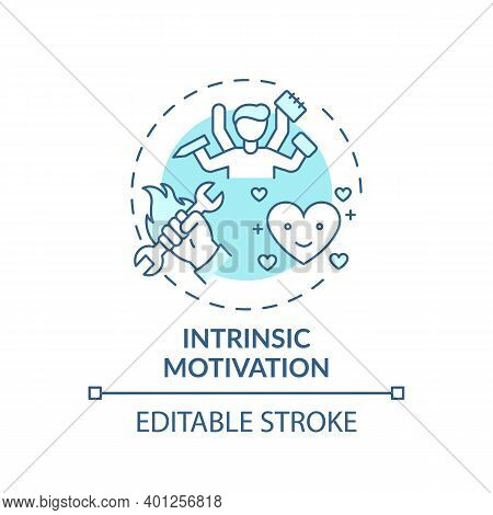 Intrinsic Motivation Concept Icon. Motivation Type Idea Thin Line Illustration. Personal Satisfactio