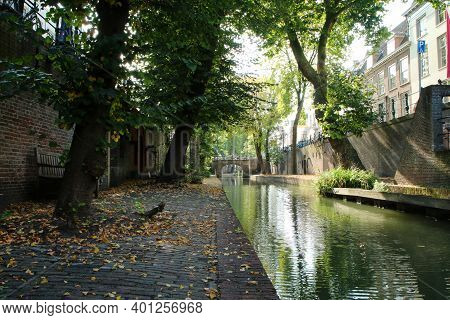 The Beautiful Channel In Utrecht In Netherlands During The Calm Autumn Forenoon.