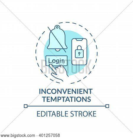 Inconvenient Temptations Concept Icon. Overcoming Procrastination Tip Idea Thin Line Illustration. S
