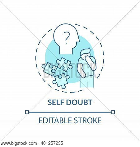 Self-doubt Concept Icon. Procrastination Effect Idea Thin Line Illustration. Fear Making Mistakes. P