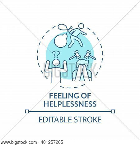 Helplessness Feeling Concept Icon. Inability To Help Oneself Idea Thin Line Illustration. Lacking Pr