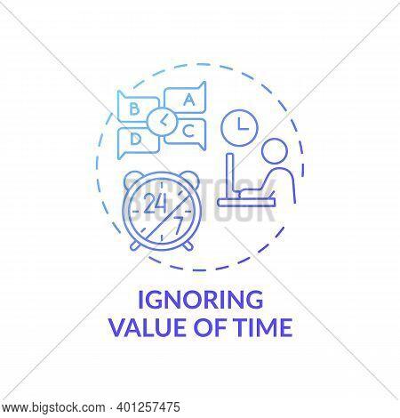 Ignoring Time Value Concept Icon. Time-management Problem Idea Thin Line Illustration. Missing Deadl