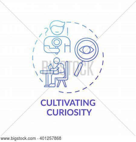 Cultivating Curiosity Concept Icon. Overcoming Procrastination Tip Idea Thin Line Illustration. Open