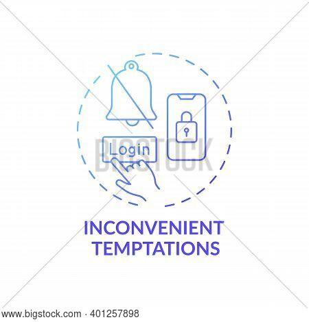 Inconvenient Temptations Concept Icon. Overcoming Procrastination Tip Idea Thin Line Illustration. M