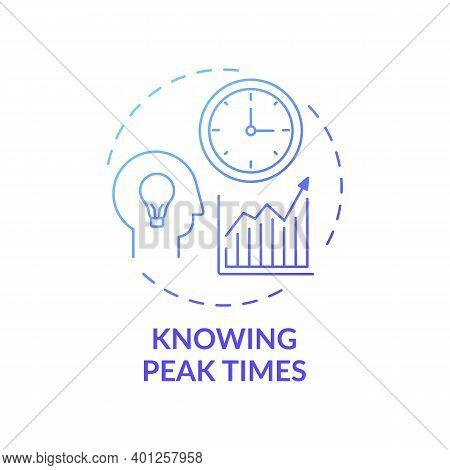 Knowing Peak Times Concept Icon. Overcoming Procrastination Idea Thin Line Illustration. Concentrati